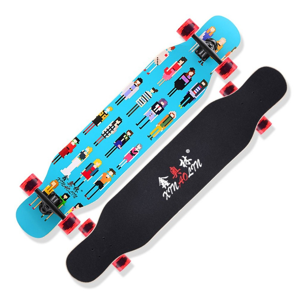 Double Rocker Longboard Maple Skate Board Four Wheels Skateboard Scooter Dancing Board Multifunction For Unsex Adults koston longboard skateboard scooter black skate helmet