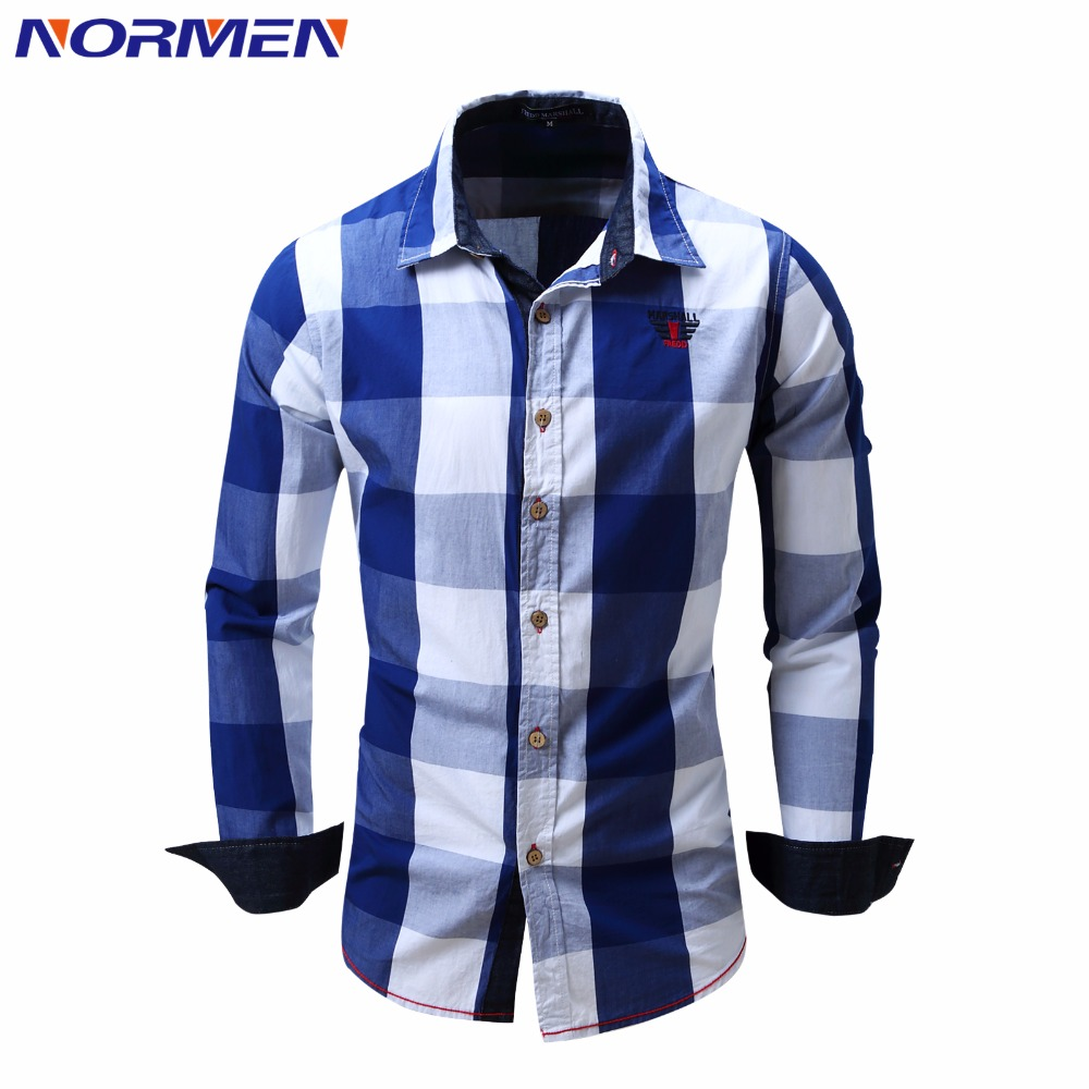 Buy normen brand men 39 s fashion plaid for Where to buy casual dress shirts