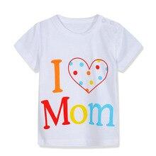 Hacia Unini-yun de dibujos animados me encanta mamá niños camisetas niños de verano de manga corta para niños camisetas ropa de bebé de algodón de los niños camisetas Bebé Niña