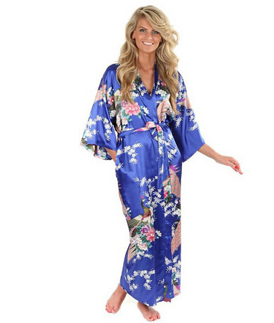 Hot Sale Blue Female Silk Rayon Robes Gown Kimono Yukata Chinese Women Sexy Lingerie Sleepwear Plus Size S M L XL XXL XXXL A-046
