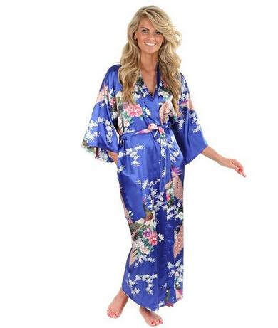Venda quente Fêmea Azul Mulheres Chinesas Seda Rayon Vestes Vestido Kimono Yukata Lingerie Sexy Sleepwear Plus Size S M L XL XXL XXXL A-046