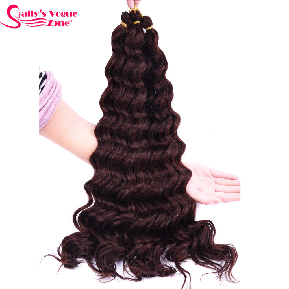 Sallyhair High Temperature Synthetic Deep Wave Twist Crochet Braids Black Color Bulk Hair Extension  (59)