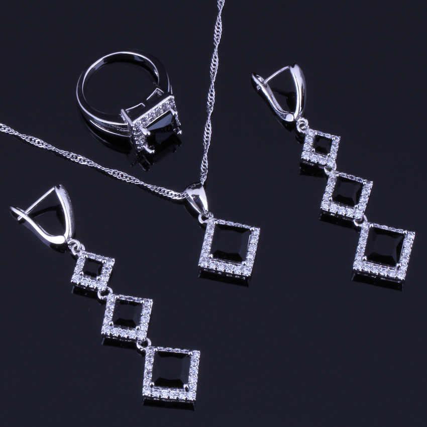 Glatte Quadratische Schwarz Zirkonia Weiß CZ 925 Sterling Silber Schmuck Sets Für Frauen Ohrringe Anhänger Kette Ring V0259