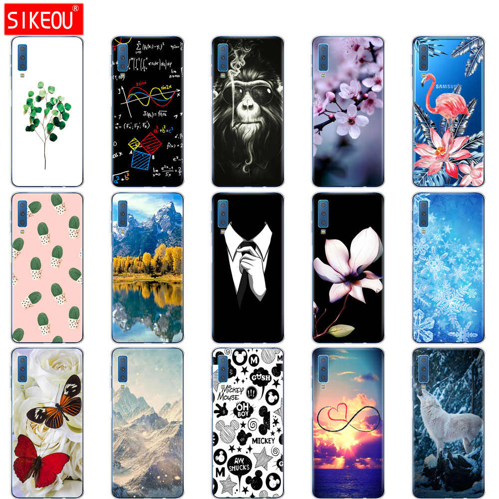 silicone Case For Samsung Galaxy A7 2018 Phone Cover Colorful Printing Back Case Cover For Samsung A7 2018 A750 A750F 6.0 Inch
