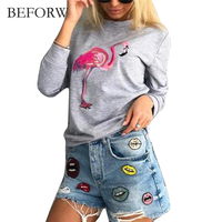 BEFORW Fashion Swan Printting T Shirt Women Long Sleeve Red Gray Pink Tops Tshirt Spring Summer