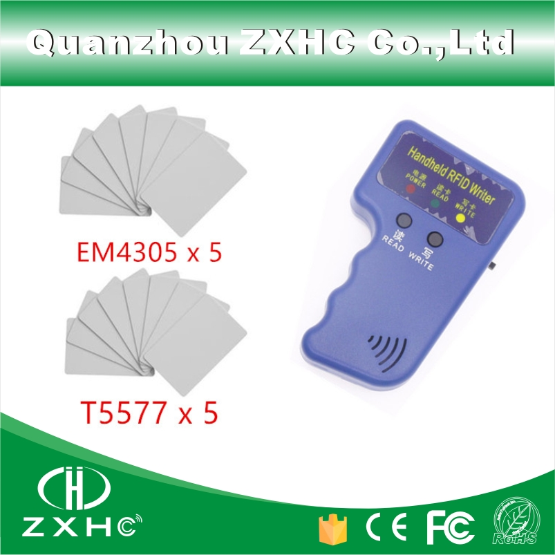 Handheld RFID Reader Writer 125KHZ RFID Copier Access Control Card Duplicator For ID Mode +5pcs T5577 Card and+ 5pcs EM4305 Card 5pcs lot free shipping outdoor 125khz em id weigand 26 proximity access control rfid card reader with two led lights