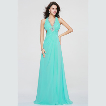 Sexy V-Neck Light Green Prom Dresses 2019 Floor Length Formal Crystal Evening Gowns PD44