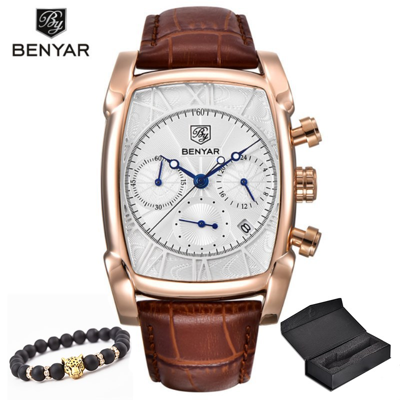 Relogio Masculino Mens Watches Top Luxury Brand BENYAR Chronograph Leather Quartz Watch Men Military Sport Luminous Wristwatch top brand luxury moers men military sport luminous wristwatch montre homme mens watches leather quartz watch relogio masculino