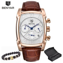 Relogio Masculino Mens Watches Top Luxury Brand BENYAR Chronograph Lea
