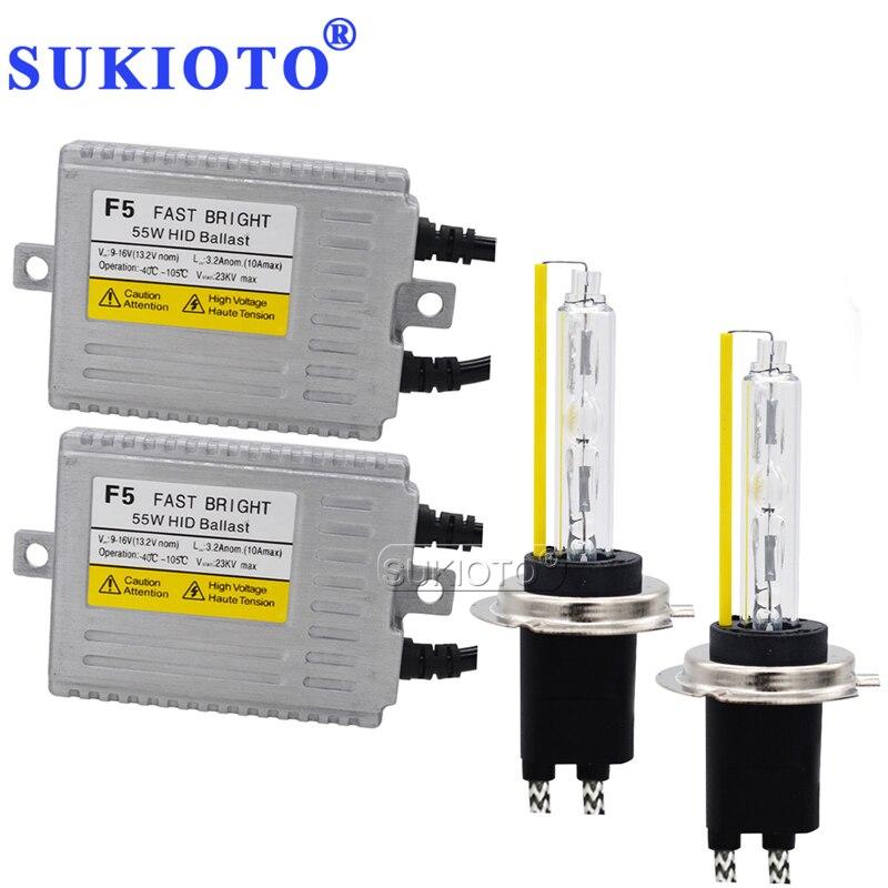 SUKIOTO F5 55 W Kit xénon rapide et lumineux H7 KIT HID D2H H4 Bixenon 5500 K blanc H1 H3 H11 9012 HB3 HB4 Kit de Ballast de phare de voiture HID