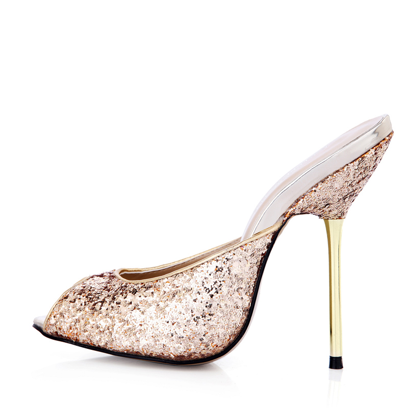 35-43 big size 2018 summer women sexy metal thin high heels sandals fashion printed sequin open toe slippers peep toe lady shoes