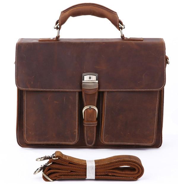 Crazy Horse Leather In Totes Bag  Men Briefcases Handbag Messenger Bag Portfolio Laptop 7164R