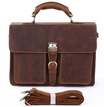 Crazy Horse Leather In Totes Bag  Men Briefcases Handbag Messenger Bag Portfolio Laptop