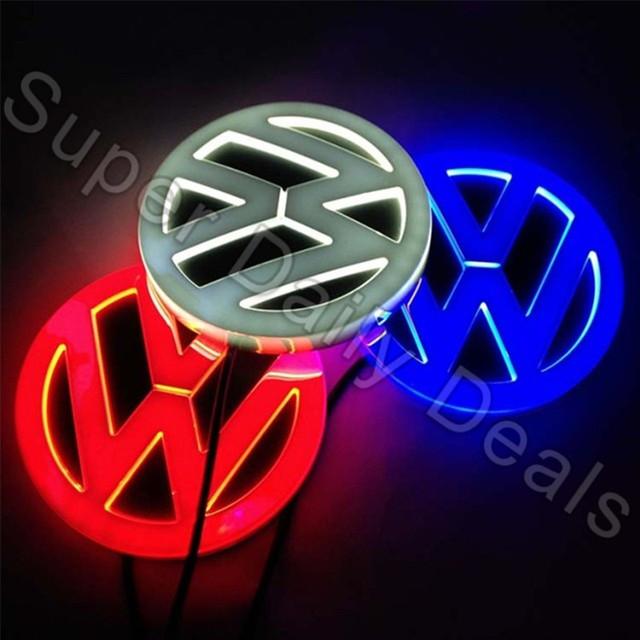 Más nuevo LLEVÓ la Insignia de la Luz Blanca/Azul/Rojo 4D Delantero/Trasero Emblema para VW Bora Coche