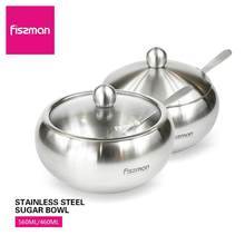 Fissman Stainless Steel Cruet with Lid&Spoon Sugar Bowl Salt Shaker Sauce Cruet Seasoning Jar(China)