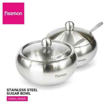Fissman Sugar Bowl Stainless Steel Cruet with Lid&Spoon Salt Shaker Sauce Cruet Seasoning Jar - DISCOUNT ITEM  44 OFF Home & Garden