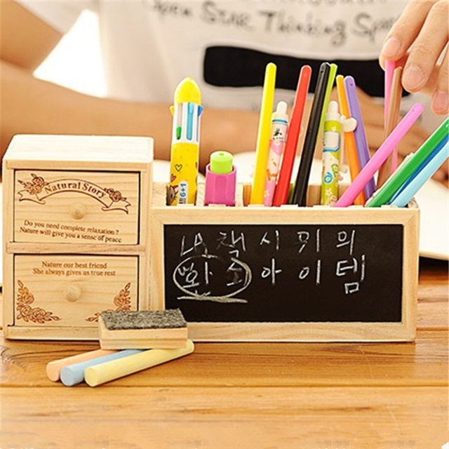 Wooden Pen Holder With Blackboard Kawaii Desk Tidy Pencil Desktop Pot Creative Office Accessories
