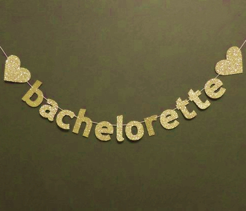 Gold Glitter Bachelorette Banner With Hearts Photo Prop Backdrop Party Decoration