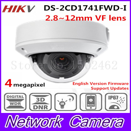 Free shipping english version New DS-2CD1741FWD-I replace DS-2CD2735F-IS Vari-focal 4MP dome Network IP Camera free shipping in stock new arrival english version ds 2cd2142fwd iws 4mp wdr fixed dome with wifi network camera