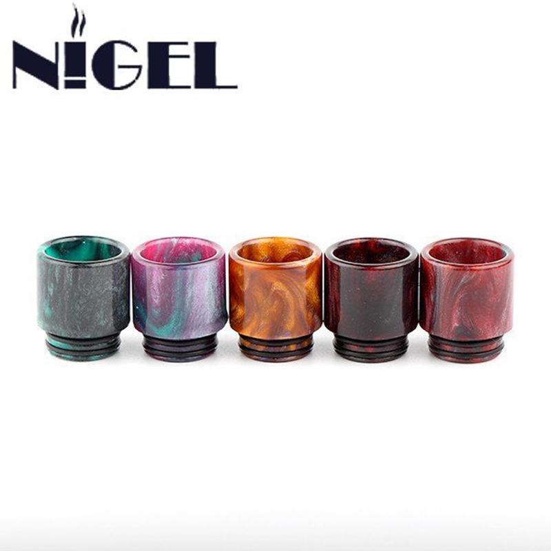 Nigel Epoxy Resin Drip Tips VapeCigarette Tillbehör Wide Bore Drip Tips för TFV8 Atomizer Tank Goon Kennedy24 RDA E Cig Mod Kit