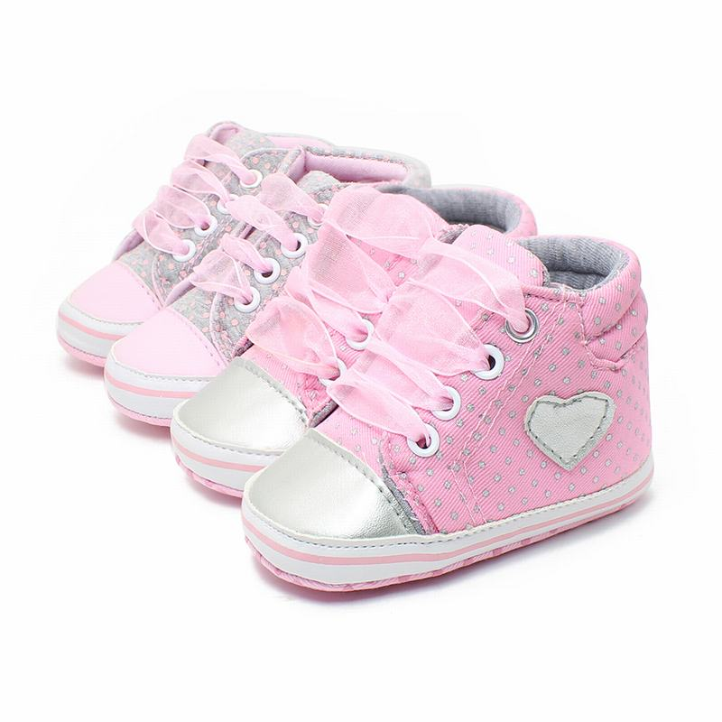 Baby Girls Toddler Princess Lace-Up First Walkers Sneakers Shoes Newborn  Soft Bottom Anti-skid Polka Dots Shoes