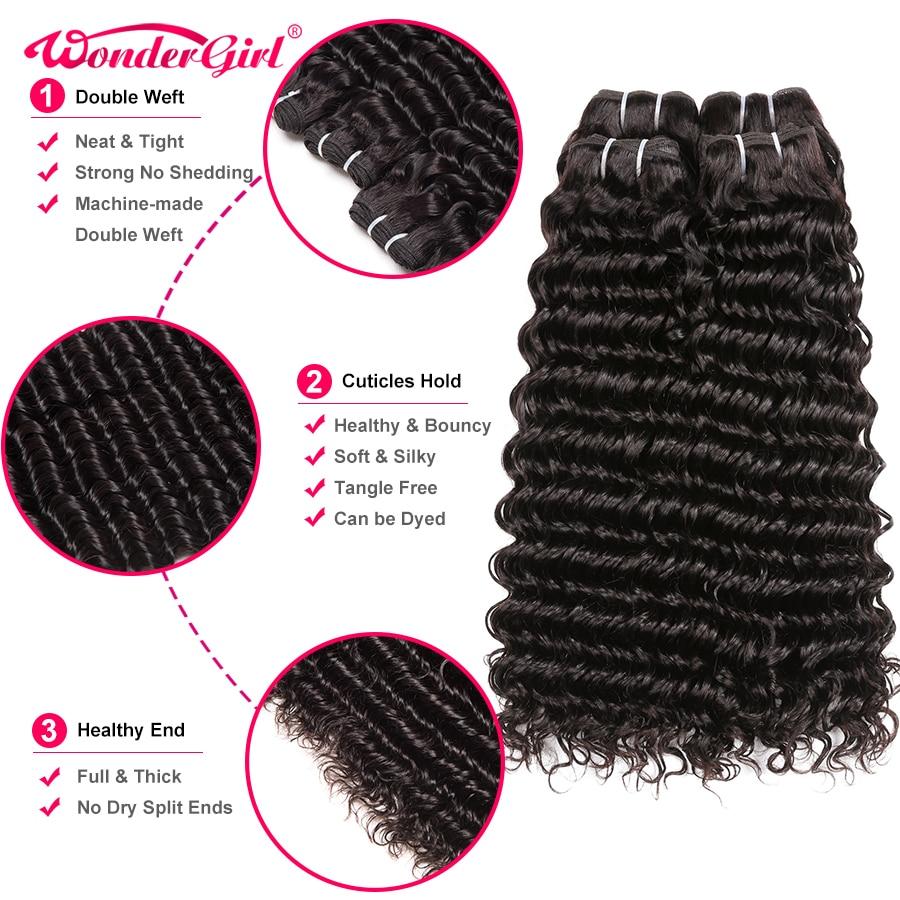 Image 3 - 28 30 Inch Bundles Deep Wave 4 Bundles Deal Peruvian Hair Bundles Wonder girl Remy Hair Extensions Human Hair Bundles No Shed-in Hair Weaves from Hair Extensions & Wigs