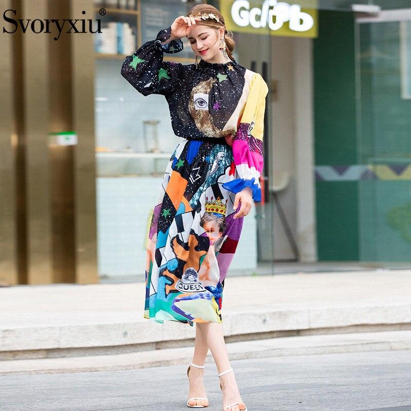 Svoryxiu 가을 여름 패션 활주로 치마 정장 여성 별이 빛나는 하늘 천사 인쇄 블라우스 + 롱 스커트 캐주얼 두 조각 세트 2019-에서여성 세트부터 여성 의류 의  그룹 2
