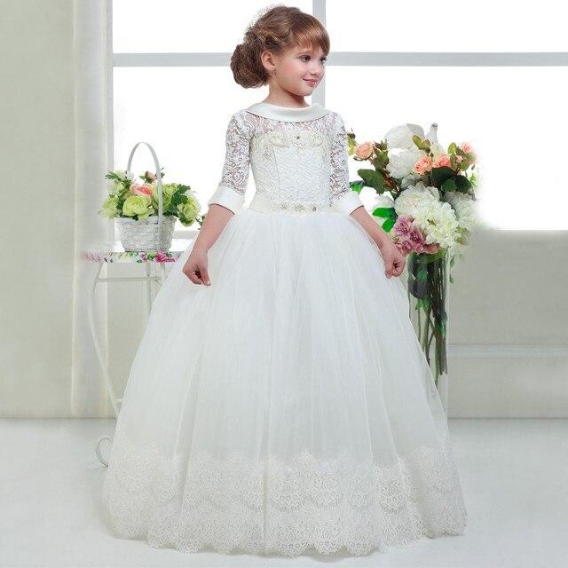 2a4b1d8d29 3 4 Rękaw Księżniczka Flower Girl Dress Lace Pierwszej Komunii Świętej  Sukienki Suknia Balowa Suknie