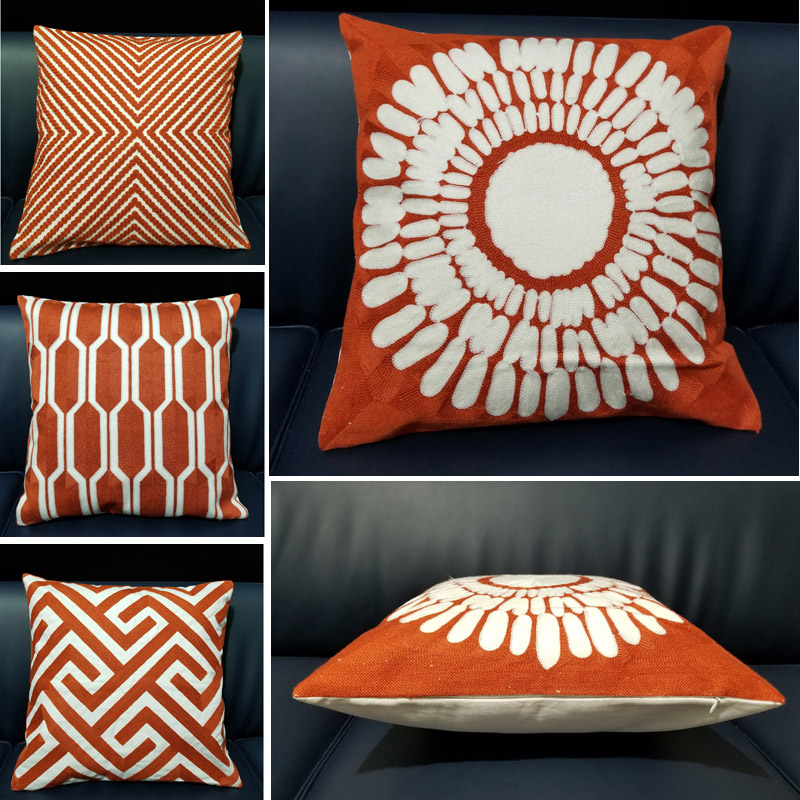 Cotton Decorative Throw Pillow Cover 45 45 Home Decor Modern Geometry Embroidered Sofa Cushion Cover Orange Pillow Kussenhoes in Cushion Cover from Home Garden