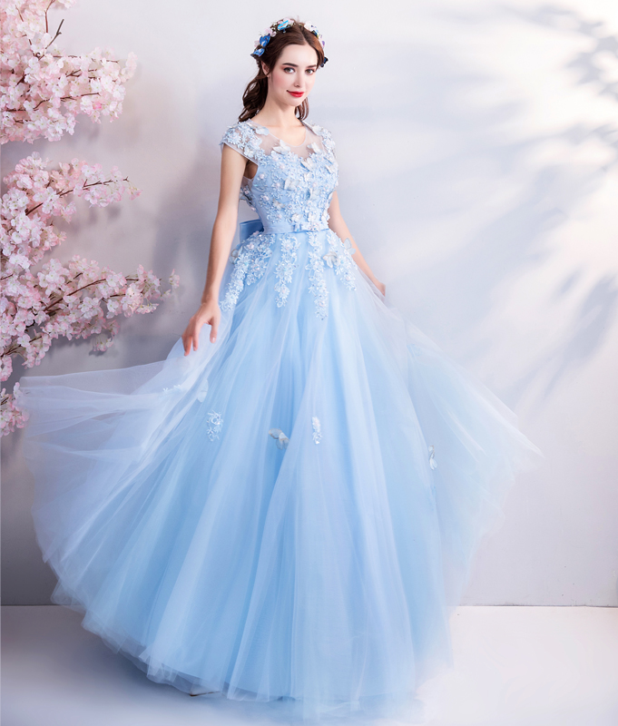 Image 2 - Walk Beside You Tulle Prom Dresses Blue Lace Appliques Beading A 