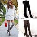 2016 Hot Mulheres Botas outono Inverno Sobre As Botas Do Joelho rendas até botas de moda saltos de qualidade de camurça longas Botas promoção ALF099