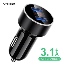 Car Phone Charger 3.1A Fast LED Display, YKZ Dual USB for iPhone Samsung mobile phone in car