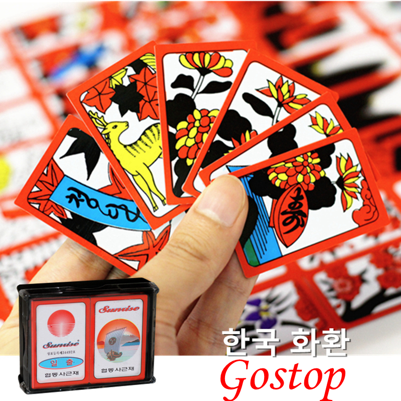 Korean Japanese PVC Waterproof Mahjong Gostop Go Stop Board Game Cards Popular Family Party Table Game Go-stop Hanafuda Cards