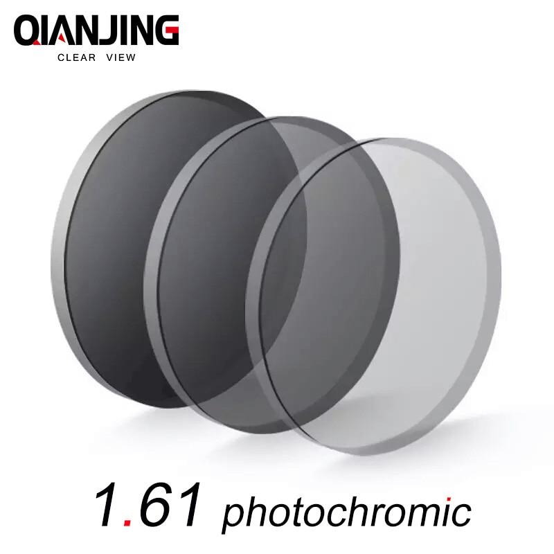 QANJING 1.61 photochromic lens glasses myopia color film becomes dimmed tea myopia resin lenses Hyperopia old flower thin Clear
