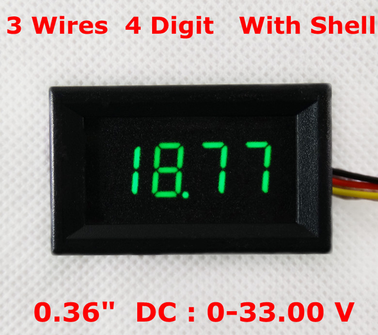 "0.36"" Voltmeter <font><b>4</b></font> Digit with shell 0-33.00V <font><b>3</b></font> wires voltage Green"