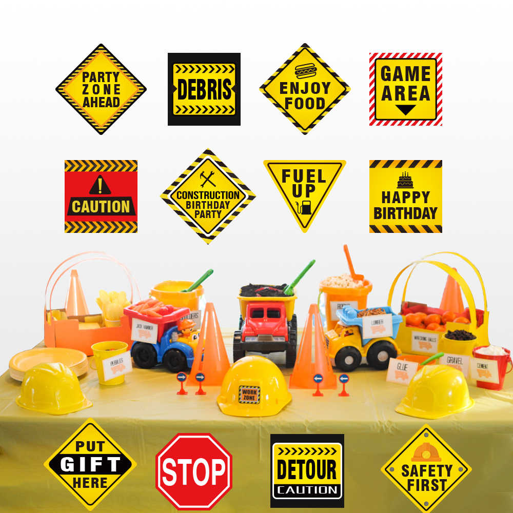 Construction Theme Funny Warning Sign Paper Cards Happy Birthday Party Decoration Kid S Birthday Party Favors Supplies Party Diy Decorations Aliexpress
