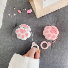 Tfshining Cute 3D pink cat paw silicone case for Apple Airpods Bluetooth Wireless Earphone Case Charging Box bags new