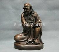 9'' China Pure Bronze Bodhidharma Buddha Monk Guru Statue