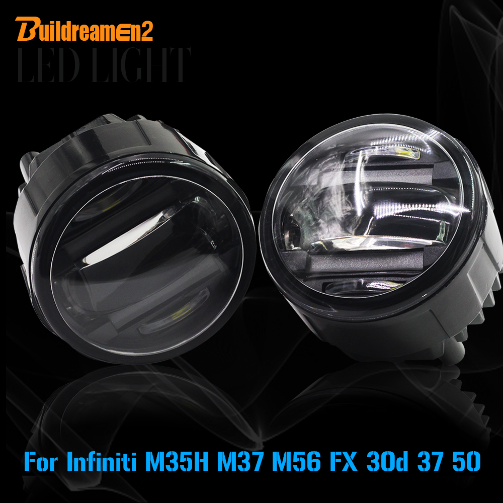 Buildreamen2 2 X Car LED Front Fog Light Daytime Running Lamp DRL 12V Styling For Infiniti M37 M56 M35H FX 30d 37 50 for infiniti fx35 37 45 50 ex35 37 h11 wiring harness sockets wire connector switch 2 fog lights drl front bumper led lamp