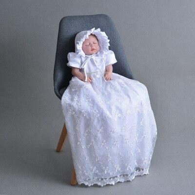2019 Extra bébé fille dentelle longue robe de baptême robes de baptême nouveau-né 1 an anniversaire fête robe pour bébés blanc princesse