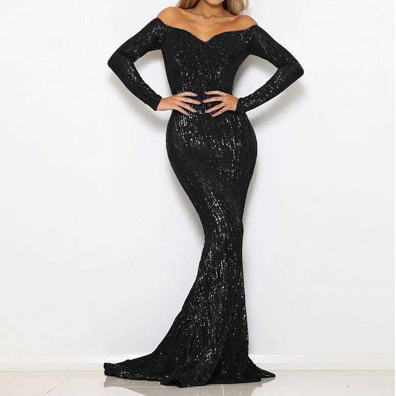 2019 Sexy Black Sequin Stretch V Neck Padded Maxi Dress Long Floor Length Lining Long Sleeve Backless Off Shoulder Party Dress