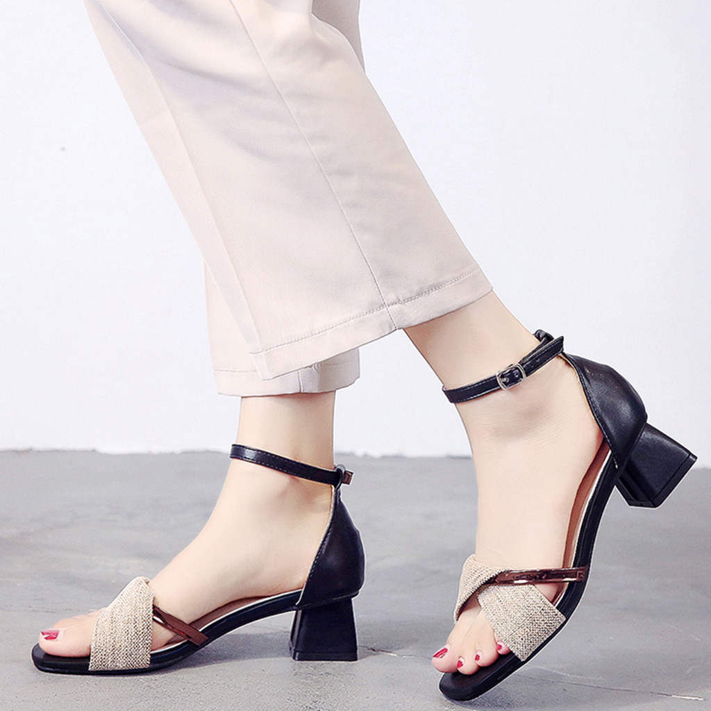 SAGACE New Elegant Fashion Women's Casual Shoes Simple Female Buckle Heel Square Toe Shoes Party Lady Sandals Summer 2019 Jul1(China)