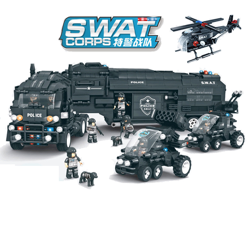 1492pcs Children s educational toys Compatible city SWAT series defender combat command vehicle DIY figures Bricks