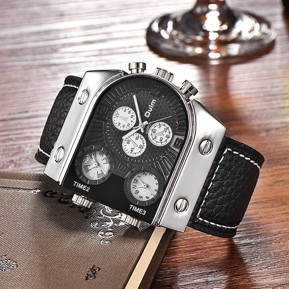 Luxus Marke Oulm Uhr Quarz Sport Männer Lederband Uhren Casual Male Military Armbanduhr Dropshipping relogio masculino