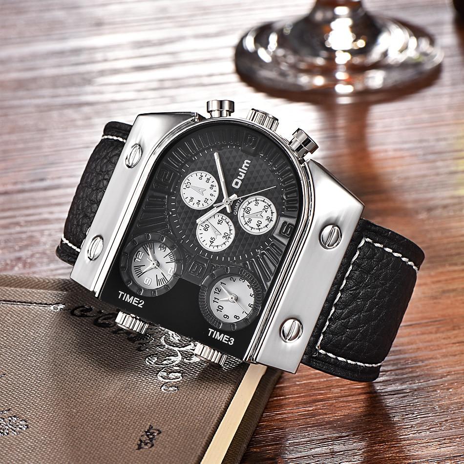 Marke Oulm Uhr Quarz Sport Männer Lederband Uhren Casual Male Military Armbanduhr Laufende Kühlen Uhr relogio masculino