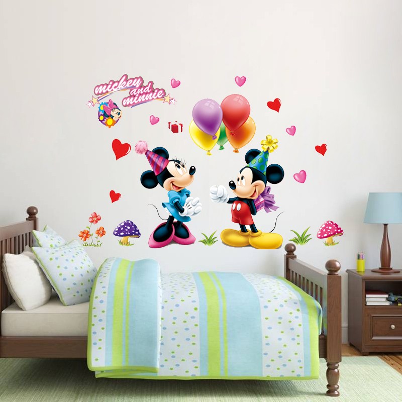 Glass Front Kids Room Decor: Cartoon Mickey Minnie Balloon Mural Wall Sticker For Kids