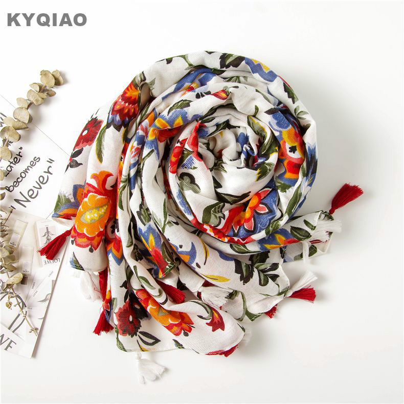 KYQIAO Ethnic Head Scarf 2019 Women Autumn Spring Spain Style Hippie Bohemian Romantic Long Floral Print Scarves