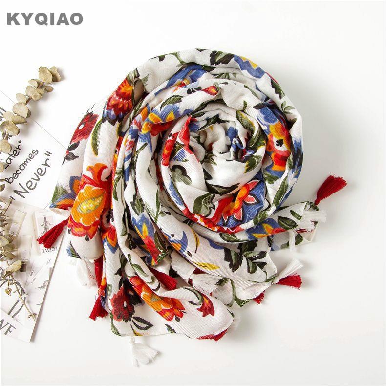 KYQIAO Ethnic Head Scarf 2020 Women Autumn Spring Spain Style Hippie Bohemian Romantic Long Floral Print Scarves