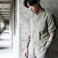 2016 Autumn men casual shirt 100% cotton brand high quality chinese style stand collar half sleeve slim fit dress men shirts C61