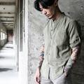 2016 Outono men casual shirt 100% algodão marca de alta qualidade chinesa estilo gola meia manga slim fit camisas de vestido dos homens C61